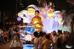 Float with a Buddha statue on top of it during the Wesak Day (Vesak Day) parade in Kuala Lumpur, Malaysia
