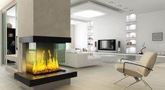 salones con chimenea modernos cristal ideas