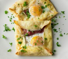 Ham And Egg Crepe Squares: use phyllo, prosciutto and eggs.