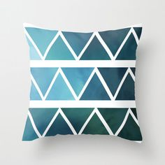 Blue Triangle Ombre Pillow Cover  Throw by ShelleysCrochetOle