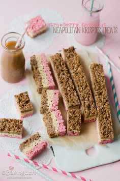 Strawberry Hazelnut Neapolitan Krispies Treats from Bakingdom