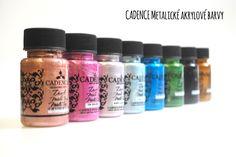Cadence metalické akrylové barvy určené pro různé techniky či Home Decor. Eyeshadow, Alcohol, Eye Shadow, Eye Shadows