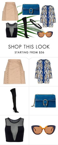"""""""blue lagoon"""" by juliesvankjaer on Polyvore featuring Balmain, Gianvito Rossi, Gucci, Varley, Marni and Humble Chic"""