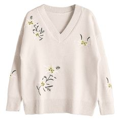 Drop Shoulder Embroidered V Neck Sweater Beige (1.615 RUB) ❤ liked on Polyvore featuring tops, sweaters, shirts, clothing - ls tops, beige shirt, embroidered top, v neck sweater, pink v neck sweater and pink top
