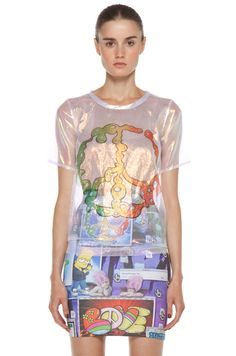 Jeremy Scott Liquid Peace Sign Tee in Holography $300.00