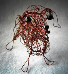Standard Dachshund Wire Sculpture Dog Figurine Pet by WireArtInk, $40.00