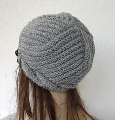 Hand Knit Hat Womens Hat Cloche Hat in Silver Gray by Ebruk