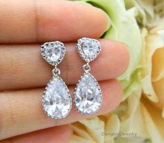 Heart Teardrop Earrings,Wedding Jewelry, Bridal Earrings, Prom Jewelry, Rhinestone Earrings, Formal Bridal Jewelry, Cubic Zirconia Jewelry. $32.00, via Etsy.