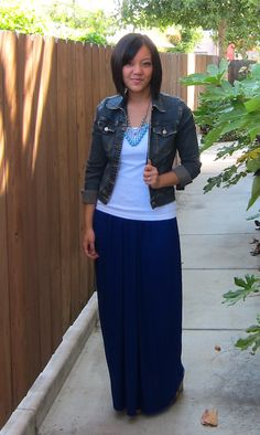 Jean jacket and maxi skirt. Can't wait for spring!