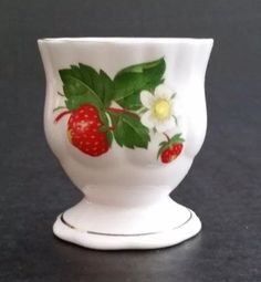 Heirloom fine bone china egg cup with strawberry and gold trimmed 2.5""