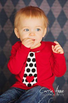 Valentines Day Polka Dot Tie Shirt Kids by wigglesandgiggles1