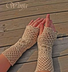 Crochet fingerless gloves linen summer fingerless par OnGoodLuck