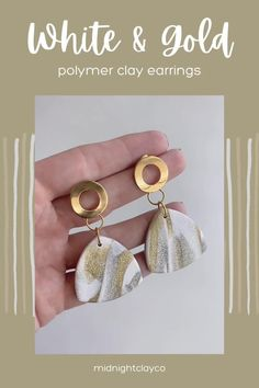 White, gold, and silver marble polymer clay earrings. Triangle shaped earrings with cut out semicircle studs. Trendy earrings perfect for a spring wedding. Give as a unique birthday gift for coworker, girlfriend, or mom. Shop these unique handmade statement earrings for women in my etsy shop! Coworker Birthday Gifts, Unique Birthday Gifts, Gifts For Coworkers, White Earrings, Women's Earrings, Triangle Shape, Minimalist Earrings, Polymer Clay Earrings, Statement Jewelry