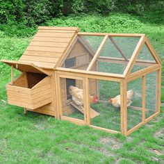 Poultry Chicken Coop Wood Hen House & Tractor Run