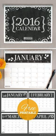 Con un esquema de color blanco y negro, este calendario 2016 #Chalkboard #calendar #freeprintable