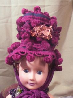 "ad3 OOAK  Fun pom pom Victorian hat fits 18"" American Girl Doll bonnet Top Hat"