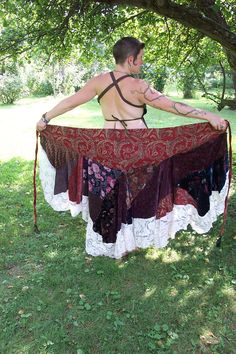 Reserved for the lovely Hadassah Eco Handmade Vintage Velvet Gypsy Pirate Wrap Around Skirt Lacy Ruffle Patchwork. $44.00, via Etsy.