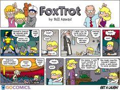 Foxtrot Comic that encompasses X-Men, Star Wars, LOTR and inception! Funny Puns, Funny Cartoons, Funny Comics, Hilarious, Funny Stuff, Garfield And Odie, Garfield Comics, X Men Funny, Fandom Crossover
