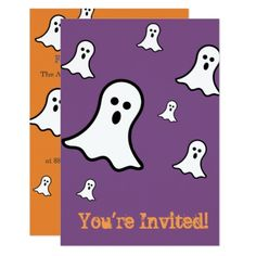 Little Ghosts Halloween Party Invitations - rsvp gifts card cards diy unique special