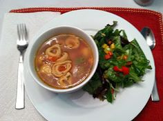 low cal tortellini and zucchini soup...yummy!  This bowl and salad is from my very own presentation to the hubs!
