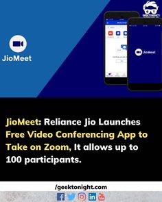 Reliance Jio has launched JioMeet its answer to Zoom. Mukesh Ambani's telecom company has launched its video conferencing app with little fanfare on Thursday night and its apps are already available on Google Play and the App Store. After a nonstop streak of funding updates Reliance Jio has released its first new product and it's entering the ring against Zoom Google Meet Microsoft Teams and other popular video conferencing tools. JioMeet supports direct calls (1:1 calling) as well as… New Product, Product Launch, Thursday Night, Popular Videos, App Store, Google Play, Microsoft, Geek Stuff, Apps