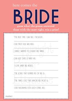 INSTANT UPLOAD Bridal Shower Game Here Comes by PaperEtiquette