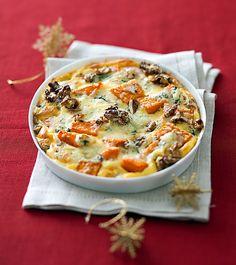 Courge et fromage à pâte persillée se marient à merveille dans ce gratin simplissime !