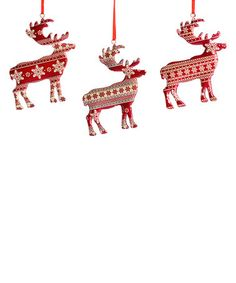 This Fair Isle Reindeer Ornament - Set of Three is perfect! #zulilyfinds