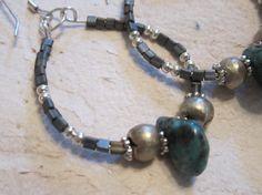 Boho Earrings Gypsy Earrings Silver Hoop Earring by edanebeadwork, $22.00