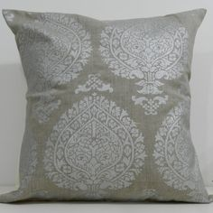 New 18x18 inch Designer Handmade Pillow Case in silver block print on taupe linen