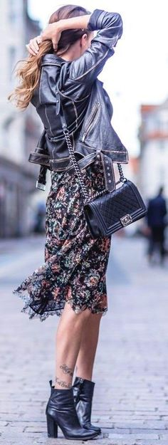 #fall #street #style | Black Leather + Floral Dress