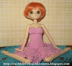 Ручкины штучки от SNata: Платье Ананасы для Обитсу 25 см мягкое тело