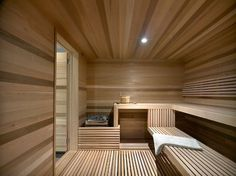 Ski Chalet With A Modern Interior Design. happens to have a big sauna to Design Sauna, Cabin Design, House Design, Sauna Steam Room, Sauna Room, Ski Chalet, Alpine Chalet, Cabine Sauna, Modern Saunas