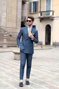 Denim Suit and yellow tie