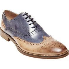 Steve Madden Men's Brymm Wing Tip Brogue Tan/Blue Waxed Leather Size 11 M