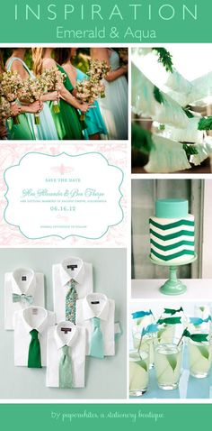 Great Emerald and Aqua inspiration board! Such pretty blue green wedding colors.  Great decorations, invitations and bridesmaid dresses #Pantone #Emerald