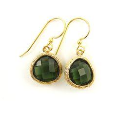 Olive Green Earrings, Olive Green Gold Teardrop Earrings, Erinite... (20,425 KRW) ❤ liked on Polyvore featuring jewelry, earrings, gold drop earrings, yellow gold dangle earrings, long earrings, long gold earrings and tear drop earrings