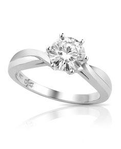 Spotlight - 6.5mm - 8.0mm Round Brilliant Cut Forever Brilliant® Moissanite Solitaire Ring in 14K White Gold - forever brilliant collection - collections - shop