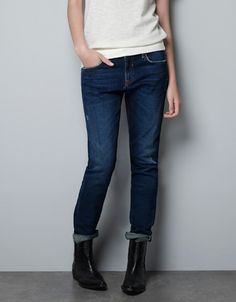 DENIM SELVEDGE ANKLE FIT DARK WASH - Jeans - Woman - ZARA United States