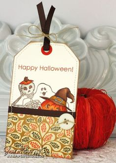 Halloween tag with Basket Additions 3 by Melanie Muenchinger - Gina K Designs stamps.