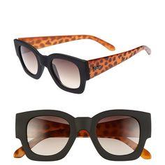 Quay 'Polygon' 50mm Sunglasses Balck/ Leopard One Size