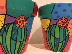 hand painted flower pots n 10 edition romero britto Painted Plant Pots, Painted Flower Pots, Purple Succulents, Hanging Succulents, Succulent Centerpieces, Succulent Terrarium, Succulent Wreath, Succulents Drawing, Clay Pot Crafts