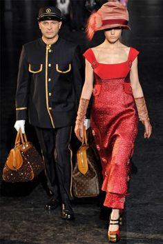 Louis Vuitton Fall 2012 Paris.  Marc Jacobs is a genius, every model  steps off a train (legit train) escorted by a bellman carrying LV baggage.  Just genius.