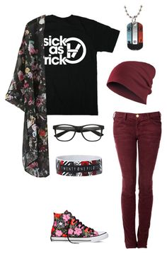 """Twenty One Pilots"" by ooakforest ❤ liked on Polyvore featuring Current/Elliott and Converse"