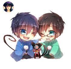 Render Ao no Exorcist - Renders Ao no Exorcist Blue exorcist Okumura Rin Okumura Yukio Chibi mignon rougis Duo