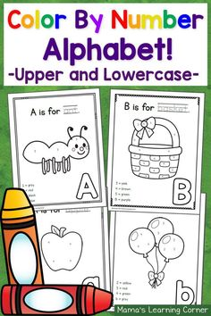 Color By Number ABCs: 50 worksheets with freebie included! Fun Activities For Preschoolers, Preschool Activities At Home, Alphabet Activities, Color Activities, Numbers For Kids, Numbers Preschool, Preschool Letters, Alphabet For Toddlers, Toddler Alphabet