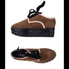 "Rochas Brown Suede Espadrilles These are not your ordinary espadrilles!  These beautiful soft brown laser cut suede espadrilles designed by Rochas will definitely make heads turn.  These are brand new in their original box.  Perfect for this Fall.  2.34"" platform. Rochas Shoes Platforms"