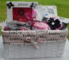 New Baby Girl Deluxe Gift Basket / Bling Baby Shower / READY TO SHIP / Hot Pink Baby Shower / Baby Sprinkle / Baby Shower Gift Ideas / Girls by ColorfulBows on Etsy  www.colorfulbows.com #babyshower #babygirl #blingbabyshower