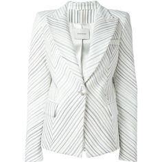 Pierre Balmain striped blazer ($1,140) ❤ liked on Polyvore featuring outerwear, jackets, blazers, white, white jacket, white blazer jacket, pierre balmain jacket, stripe blazer and stripe jacket