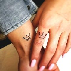 Exceptional tiny tattoos are readily available on our site. Check it out and you wont be sorry, you did. Distinctive tiny tattoos are available on our website. Test it out and … Crown Tattoos For Women, Tiny Tattoos For Girls, Cute Couple Tattoos, Couple Tattoo Ideas, Small Sister Tattoos, Couple Ideas, Subtle Tattoos, Pretty Tattoos, Unique Tattoos
